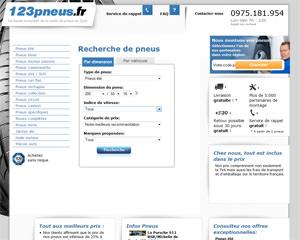 Page d'accueil de 123pneus