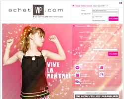 Page d'accueil de Achat VIP