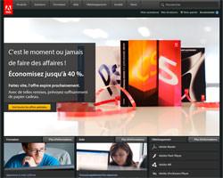 Page d'accueil de Adobe