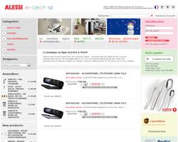 Page d'accueil de Alessi A-shop