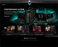 Page d'accueil de Alienware