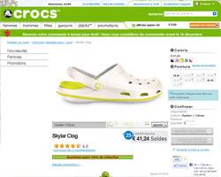 Une fiche produit de Crocs