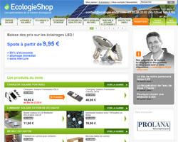 Page d'accueil de Ecologie Shop