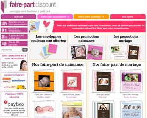 Page d'accueil de Faire-part discount