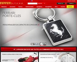 Page d'accueil de Ferrari Store