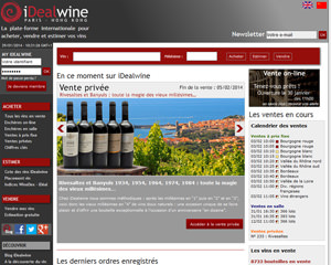 Page d'accueil de iDealwine