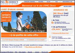 Page d'accueil de ING Direct
