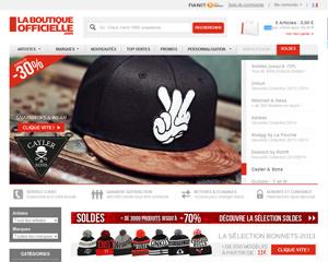Page d'accueil de La Boutique Officielle
