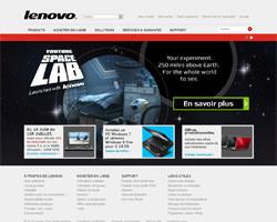 Page d'accueil de Lenovo