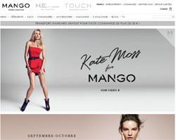 Page d'accueil de Mango