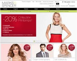 Page d'accueil de Marks & Spencer