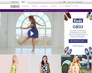 Page d'accueil de Oasis