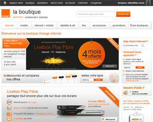Page d'accueil de Orange Internet