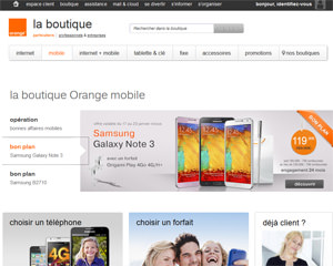 Page d'accueil de Orange Mobile