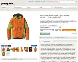 Une fiche produit de Patagonia