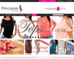 Page d'accueil de Princesse boutique