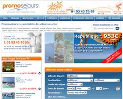 Page d'accueil de Promosejours