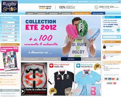 Page d'accueil de Rugby Shop