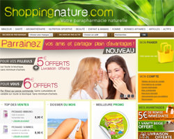 Page d'accueil de Shopping nature