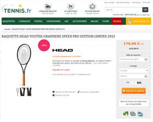 Une fiche produit de Tennis.fr
