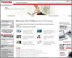 Page d'accueil de Toshiba