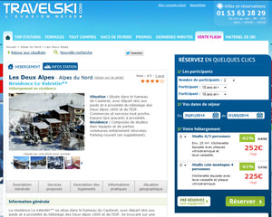 Une fiche produit de TravelSki