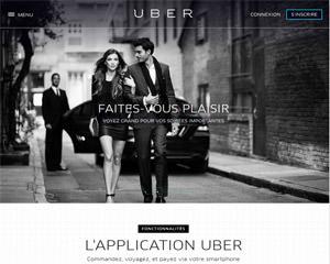 Page d'accueil de Uber