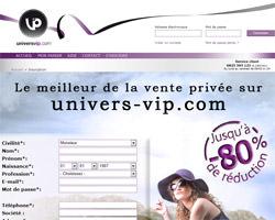 Page d'accueil de Univers VIP