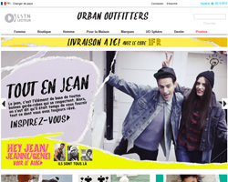 Page d'accueil de Urban Outfitters