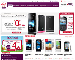 Page d'accueil de Virgin Mobile