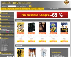 Page d'accueil de Warner DVD Shop