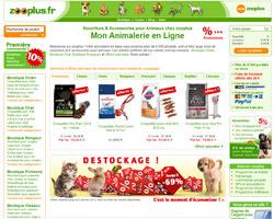 Page d'accueil de Zooplus
